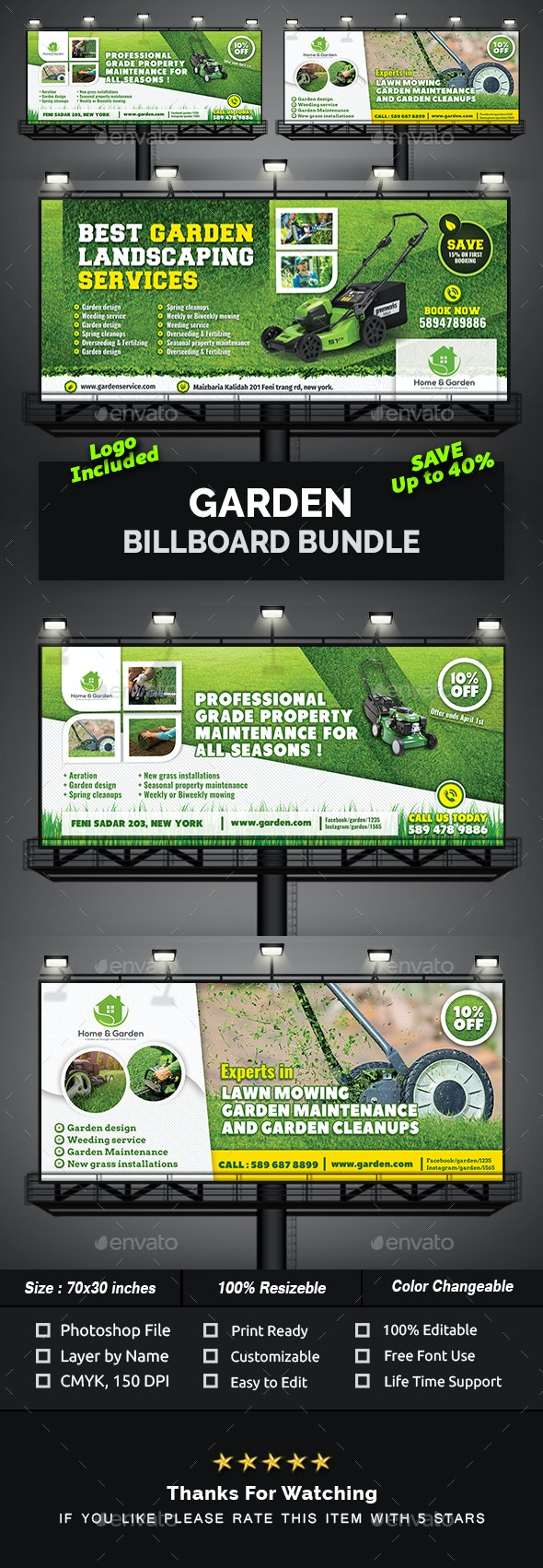 Garden Billboard Bundle - Signage Print Templates