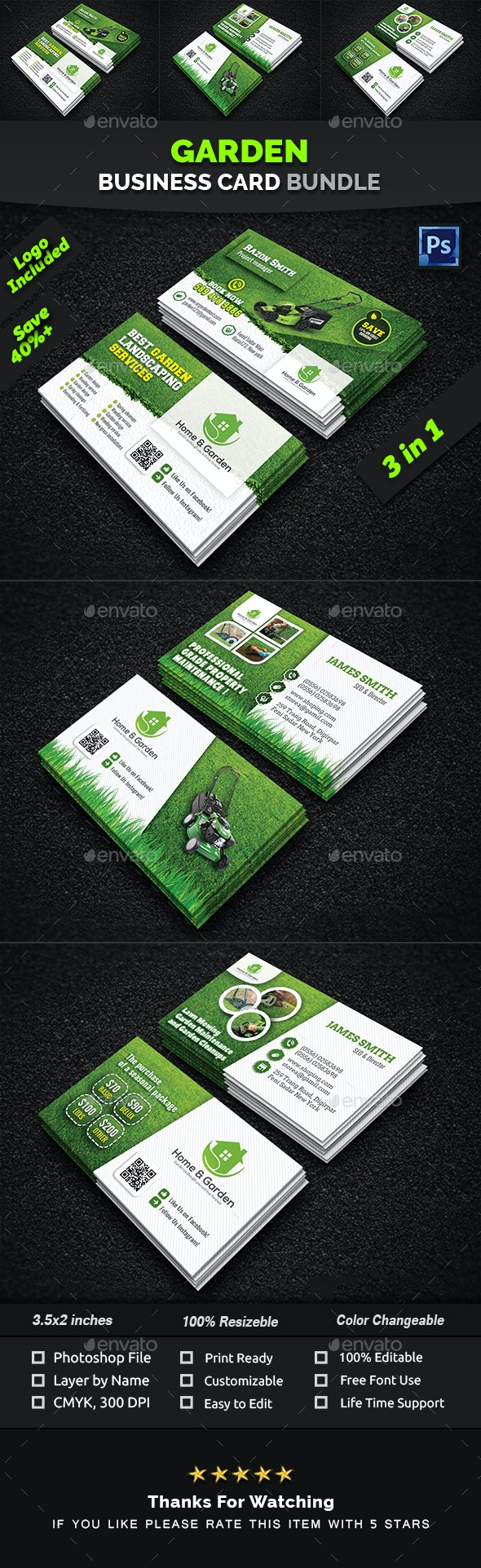 Garden Business Card Bundle - Industry Specific Business Cards