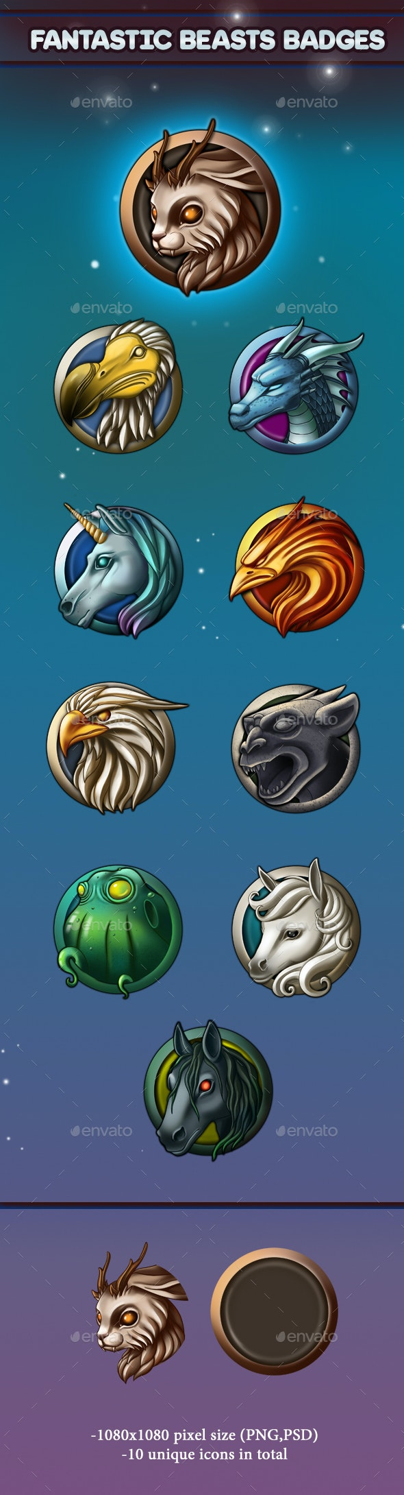 Fantastic Beasts Badges - Miscellaneous Game Assets