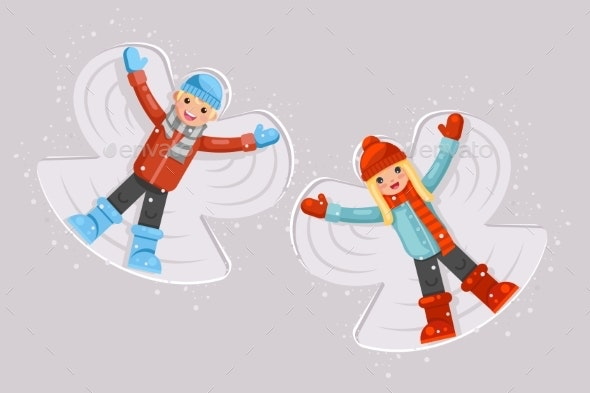 Snow Angel Childhood Game - People Characters