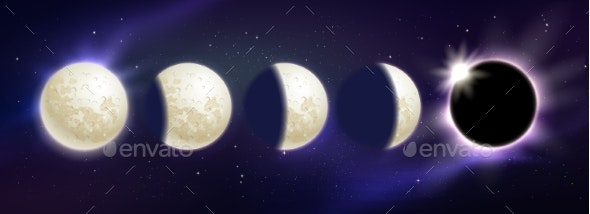 Set of Moon Phases and Eclipse - Backgrounds Decorative