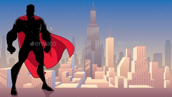 Superhero Standing Tall in City Silhouette - People Characters