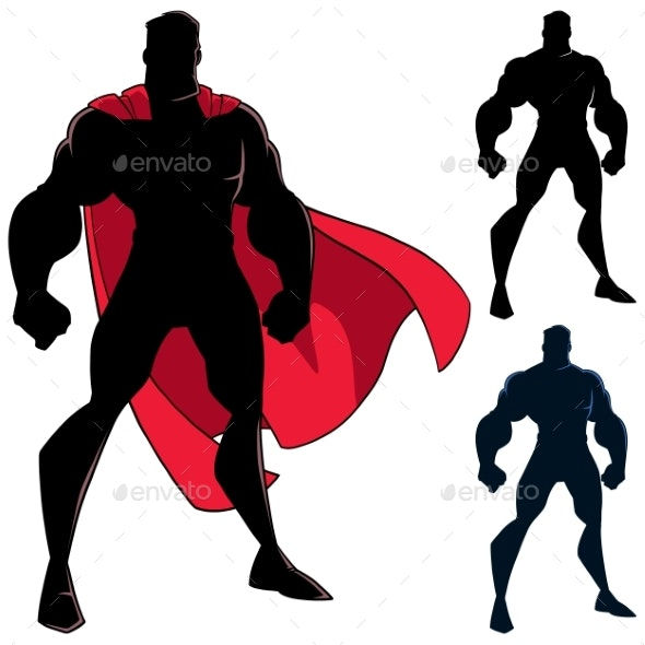 Superhero Standing Tall Silhouette - People Characters