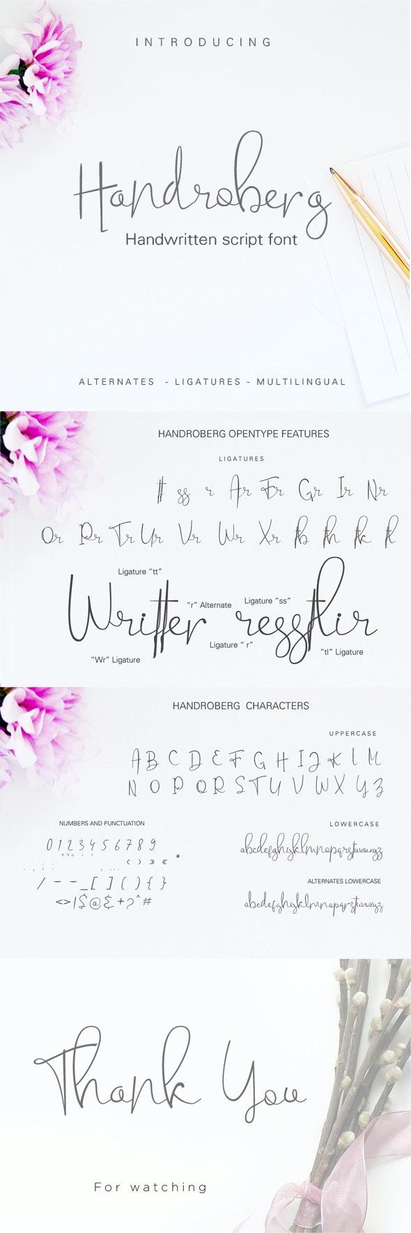 Handroberg Font - Hand-writing Script
