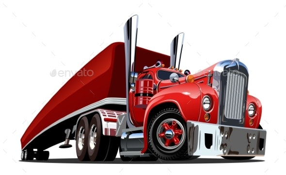 Cartoon Retro Semi Truck Isolated on White - Man-made Objects Objects