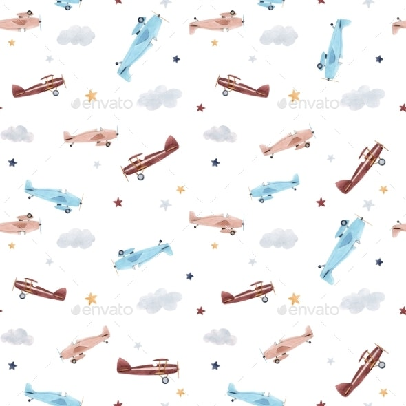 Watercolor Aircraft Baby Pattern - Miscellaneous Illustrations