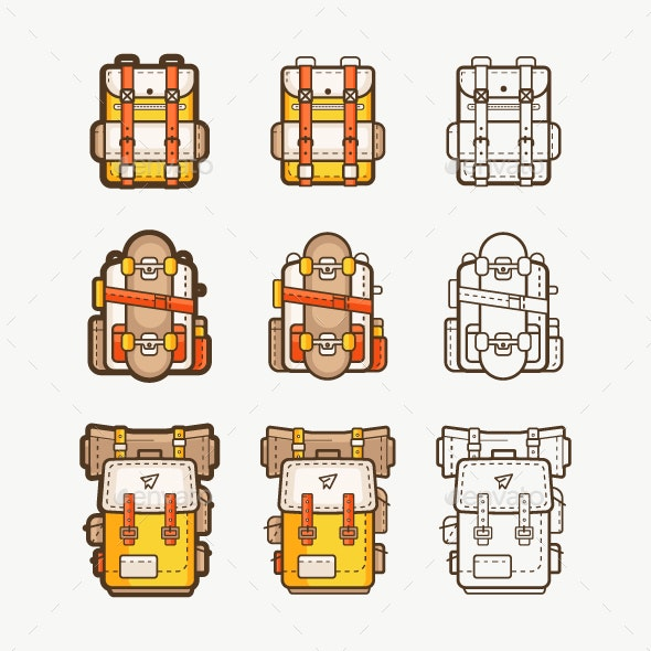 Vector Icons with Backpacks for Hiking - Icons