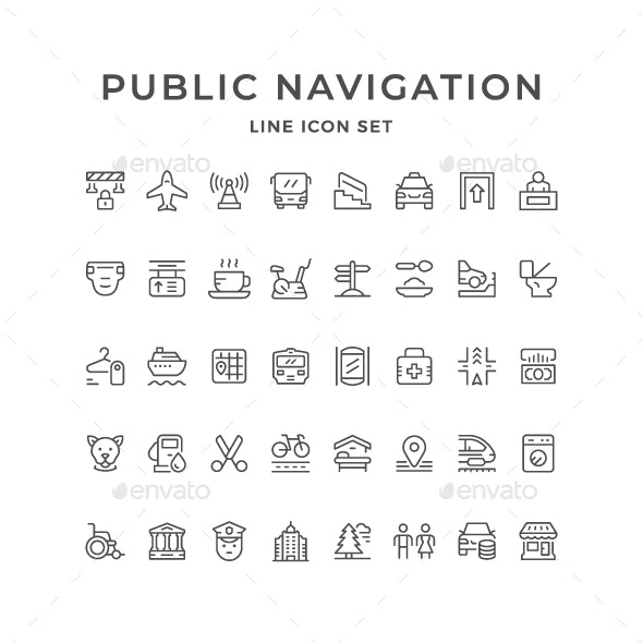 Set Line Icons of Public Navigation - Man-made objects Objects