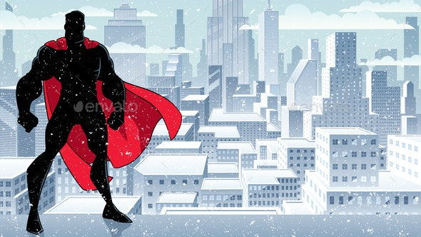 Superhero Standing Tall Winter Silhouette - People Characters
