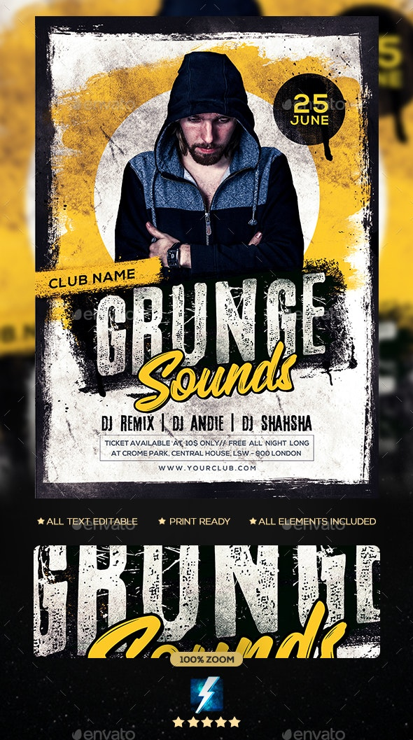 Grunge Sounds Party Flyer - Clubs & Parties Events