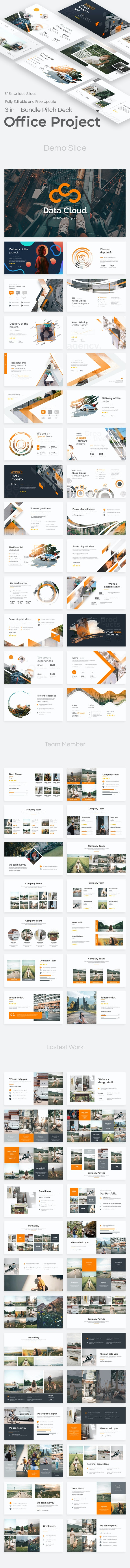 Office Project 3 in 1 Pitch Deck Google Slide Bundle Template - Google Slides Presentation Templates