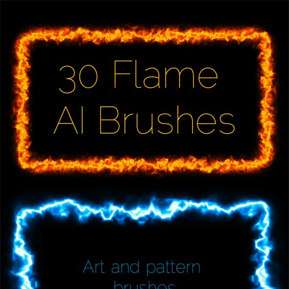 Fire, Plasma, Flame  - 30 Vector Art and Pattern AI Brushes