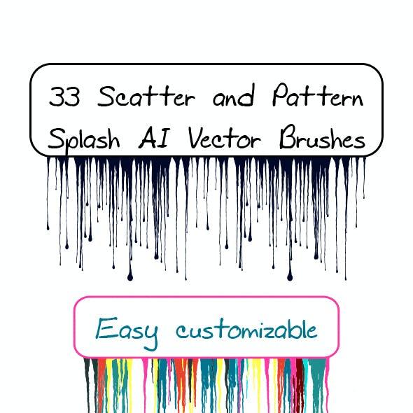 33 Splashes, Spray, Spots, Splatter and Blots Adobe Illustrator Pattern and Scatter Brushes