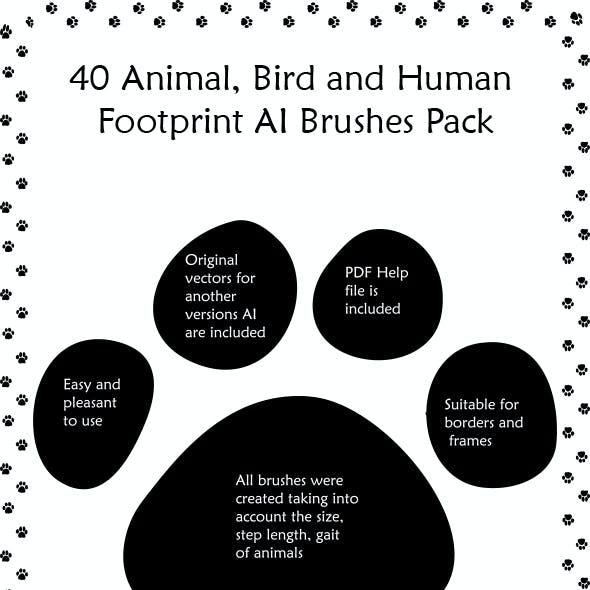 40 Animal, Bird and Human Footprints Adobe Illustrator Pattern Brushes
