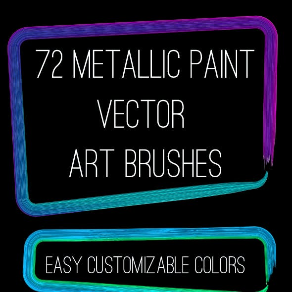 72 Brilliant Metallic Paints Adobe Illustrator Art Brushes