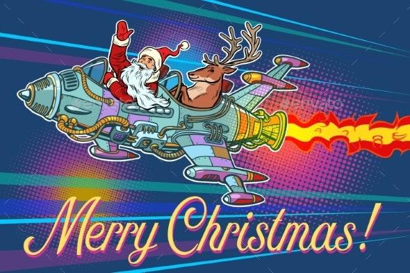 Merry Christmas Retro Santa Claus with a Deer - Christmas Seasons/Holidays