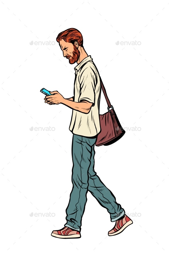 Bearded Male Pedestrian Looks at a Mobile Phone - People Characters