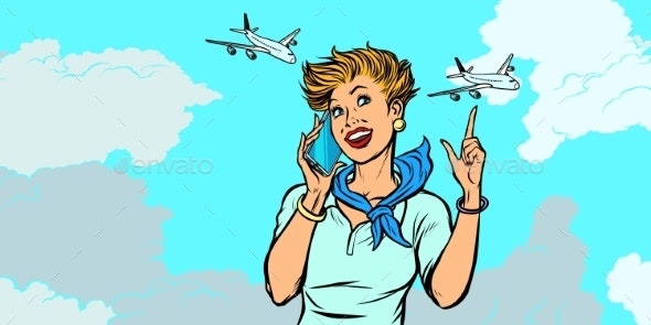Woman Stewardess with Phone - Travel Conceptual