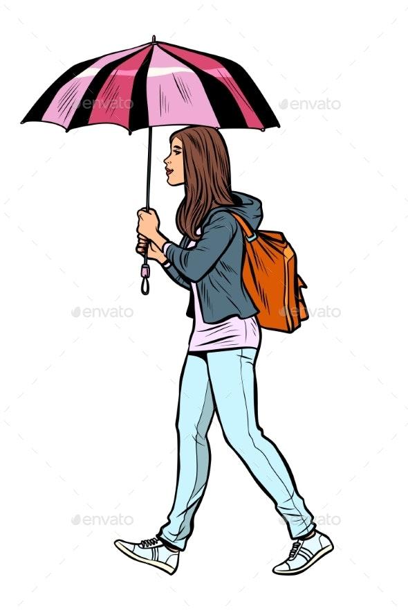 Teen Girl with Umbrella - People Characters