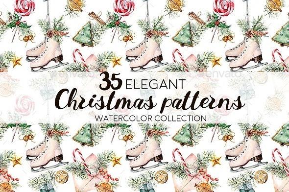 Elegant Christmas patterns - Patterns Backgrounds