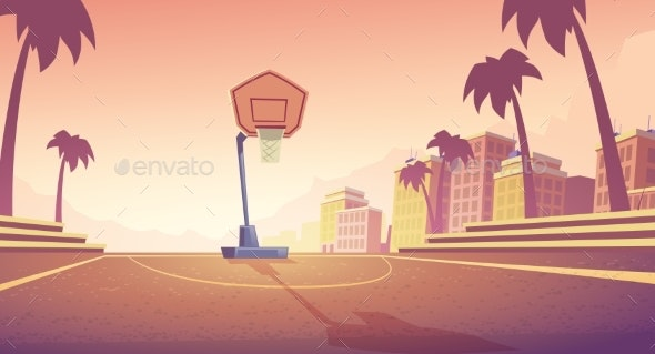 Vector Background with Basketball Court in City - Backgrounds Decorative