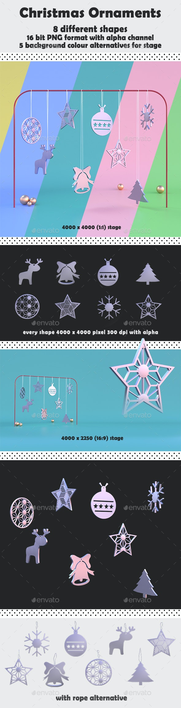 Christmas Ornaments - 3D Backgrounds