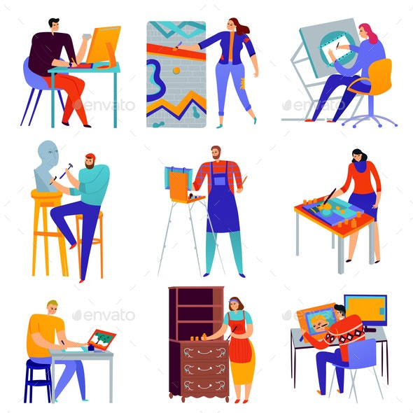 Creative Professions Icons Set - People Characters
