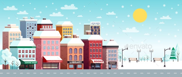 Winter City Horizontal Banner - Buildings Objects
