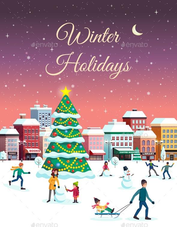 Winter Holidays City Poster - Seasons Nature
