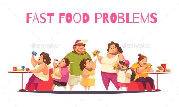 Fast Food Problems Concept - Food Objects