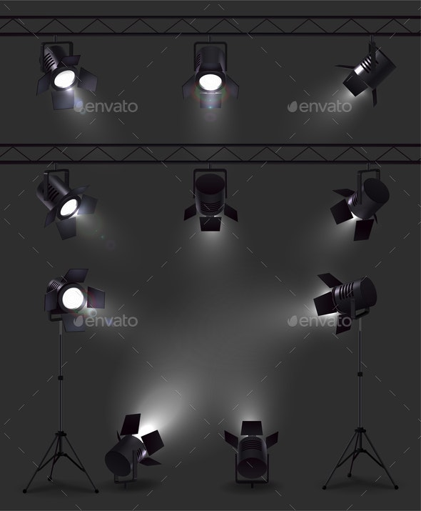 Realistic Spotlights Dark Set - Miscellaneous Vectors