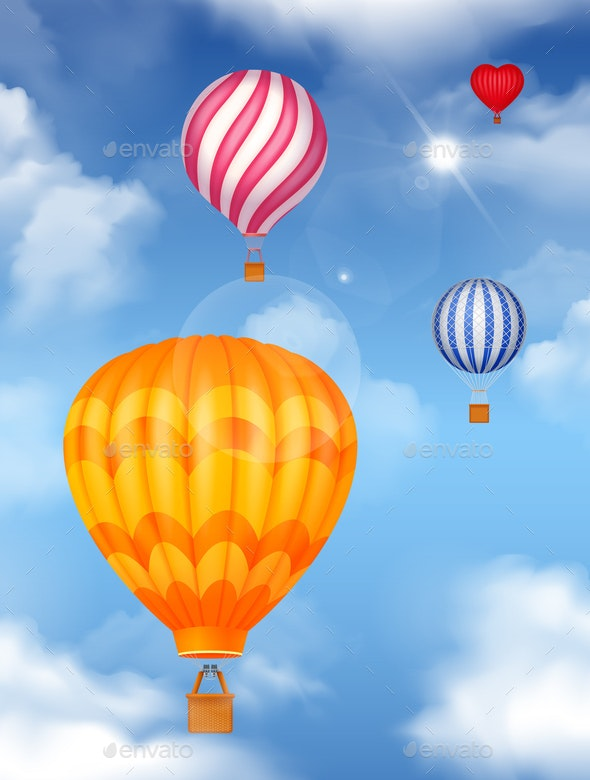 Air Baloons In The Sky Background - Miscellaneous Vectors
