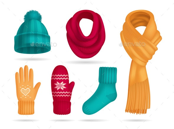 Winter Knitted Accessories Set - Miscellaneous Vectors