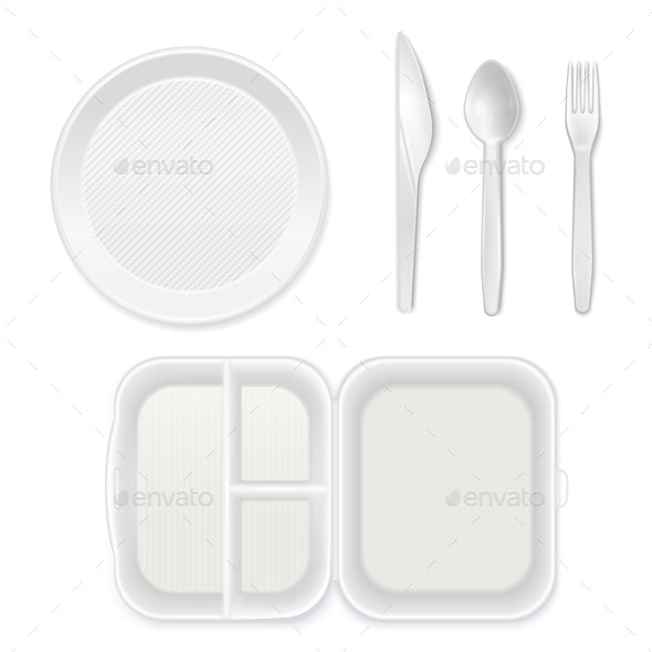 Disposable Tableware Lunchbox Set - Food Objects