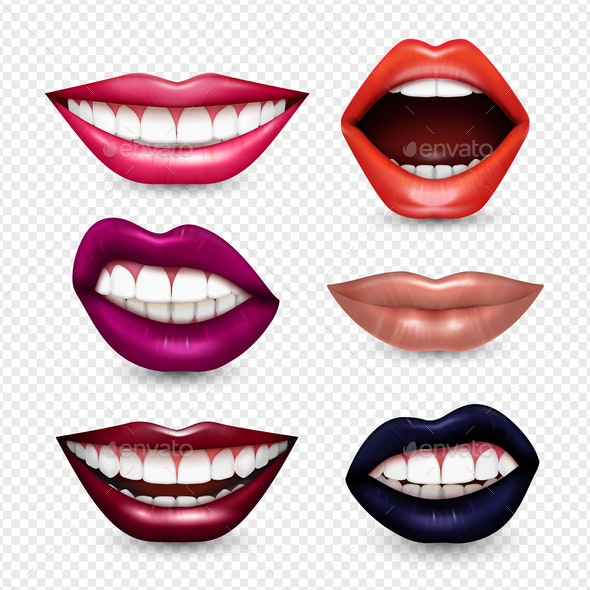 Mouth Expressions Realistic Transparent - Backgrounds Decorative