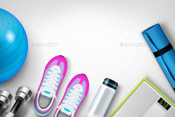 Fitness Background Realistic Composition - Sports/Activity Conceptual