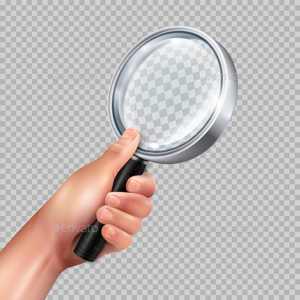 Magnifying Glass Hand Realistic - Objects Vectors