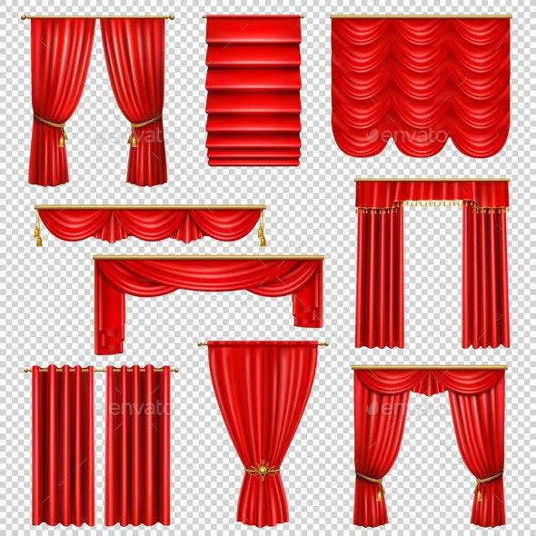 Luxury Red Curtains Transparent Set - Miscellaneous Vectors