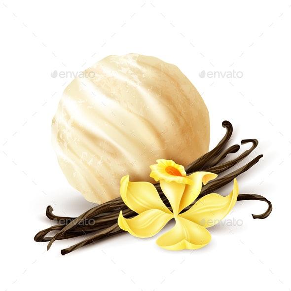 Vanilla Ice Cream Scoop Realistic - Food Objects