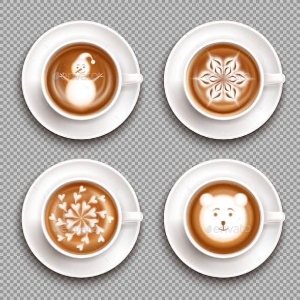 Latte Art Cups Top View