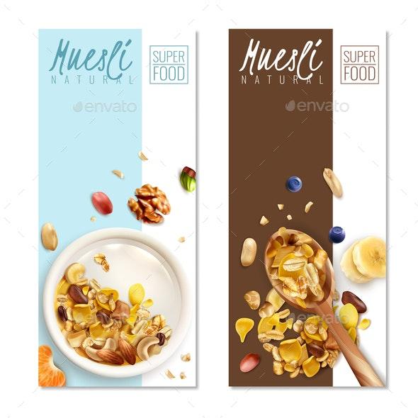 Muesli Banners Realistic - Miscellaneous Vectors