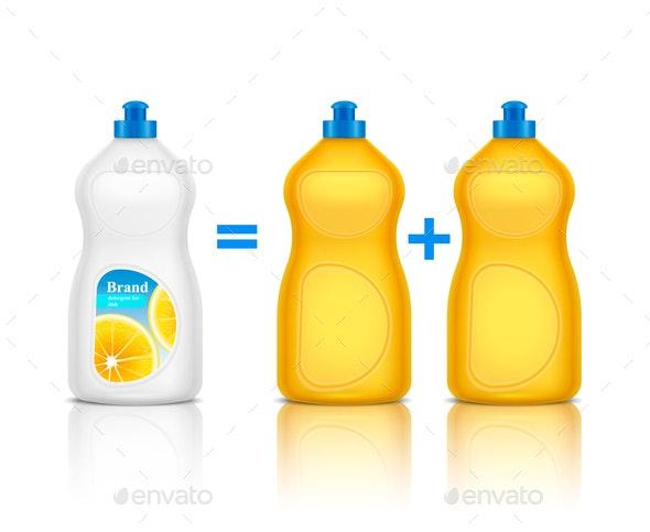 Detergent Advertising Realistic Composition - Miscellaneous Vectors