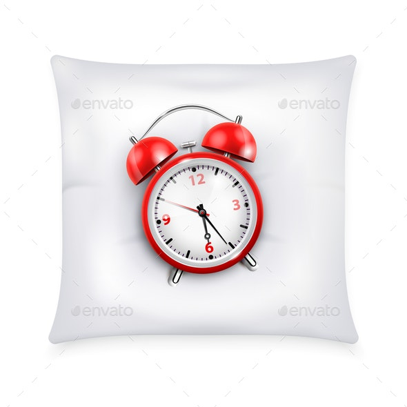 Red Retro Alarm Clock On White Pillow - Miscellaneous Vectors