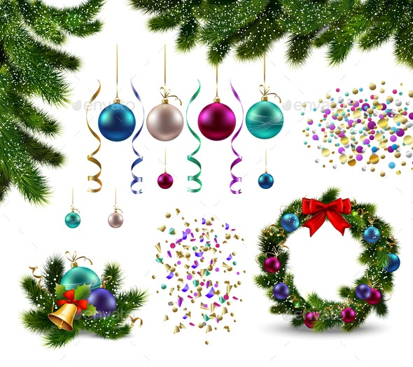 Christmas Decorations Realistic Set - Seasons/Holidays Conceptual