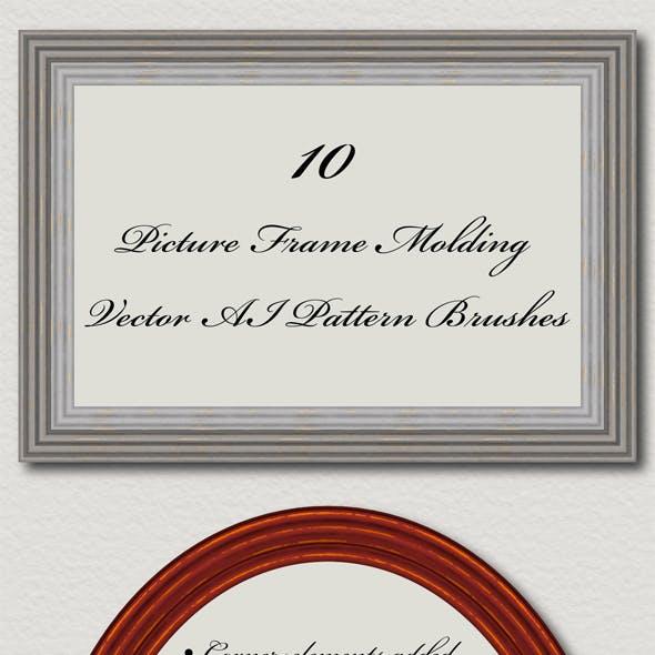 10 Picture Frame Molding Brushes - Vector Adobe Illustrator Pattern Grunge Shabby Brushes