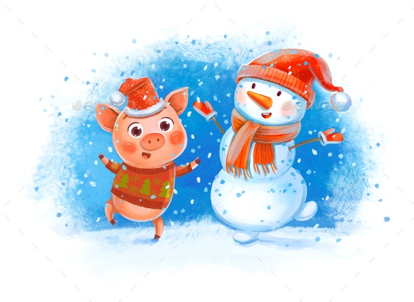 Funny Pig and Snowman - Illustrations Graphics