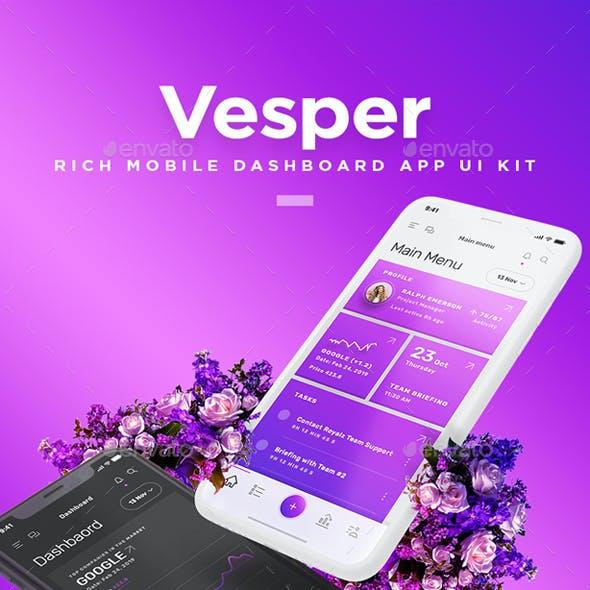Vesper - Mobile Dashboard App UI Kit