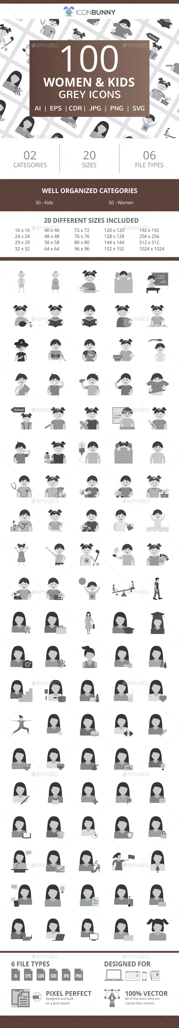 100 Women & Kids Flat Greyscale Icons - Icons