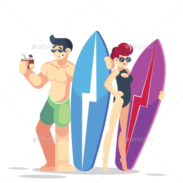 Vector Young Surfer Couple Characters - People Characters