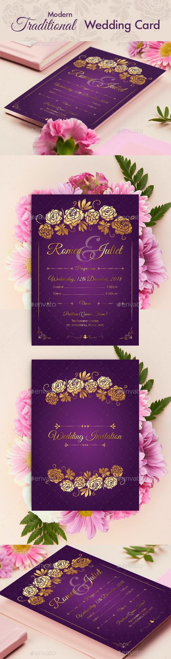 Modern Traditional Style Wedding Invitation - Wedding Greeting Cards
